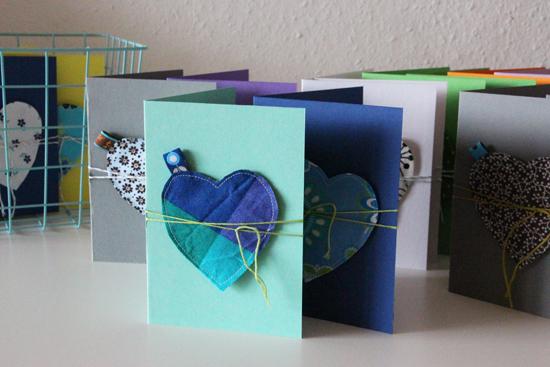 binedoro Blog, Grußkarte mit Herz, nähen, DIY, binedoro Shop, DaWanda