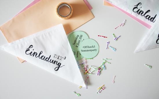 binedoro Blog, DIY, Einladung, Party, Handlettering, stempeln, Typografie, Konfetti, Besteck, Sommer