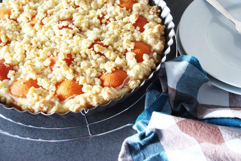 Aprikosen-Skyr-Tarte, Streusel, Kuchen, backen, Rezept, Tarte, Obst