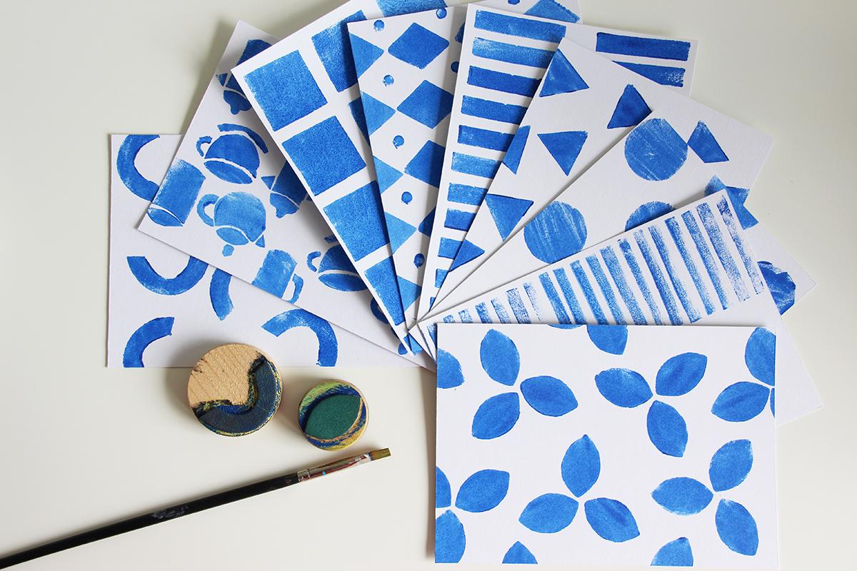 Karten, stempeln, drucken, DIY, blau-weiss, azurblau, Papier, binedoro