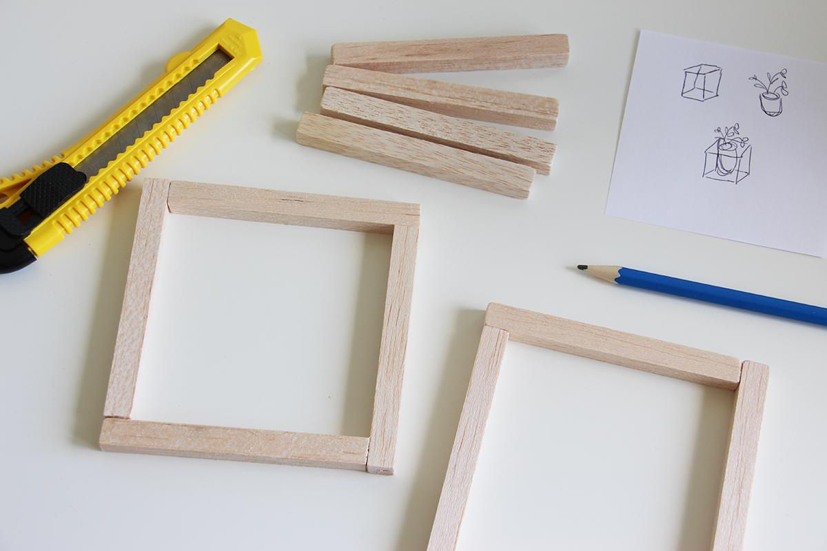 Holz, Balsaholz, Blumenübertopf, Cube, Würfel, DIY, binedoro