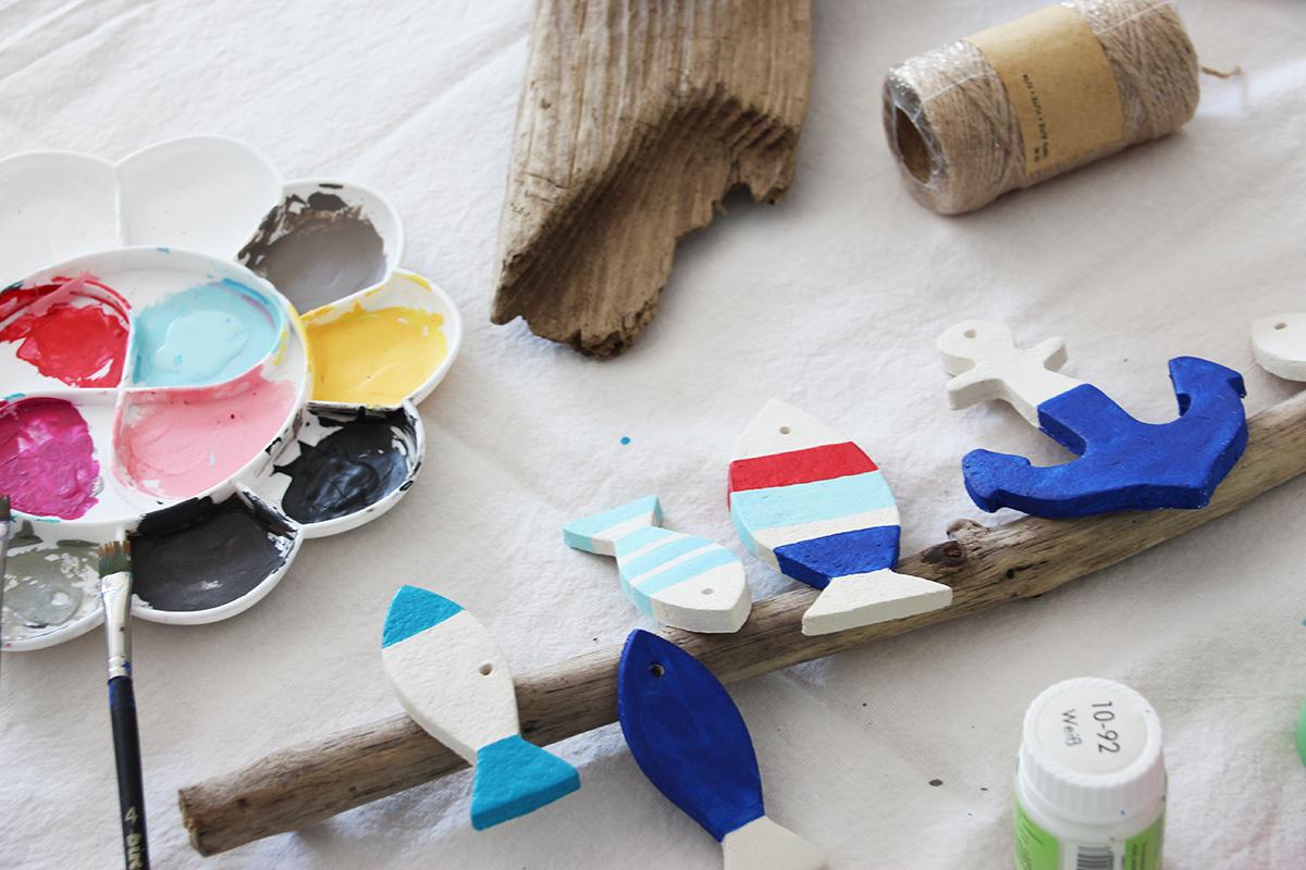 Mobilé, basteln, Keramik, Holz, Treibholz, DIY, Wanddekoration, binedoro