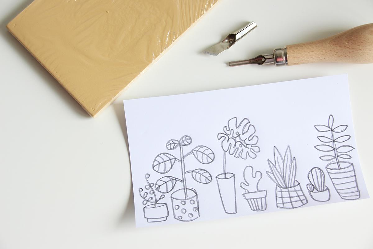 DIY, Anleitung, Soft Linol Druck, drucken, Stiftemäppchen, binedoro