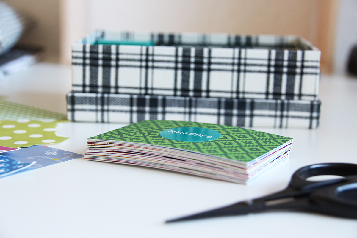 Visitenkarten, Hülle, nähen, basteln, DIY, bunt, Papier, binedoro