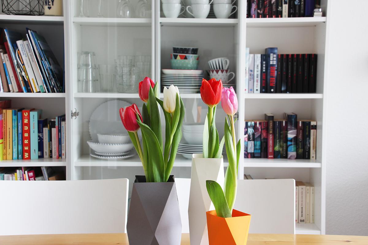 Papiervase, falten, Tulpen, DIY, binedoro