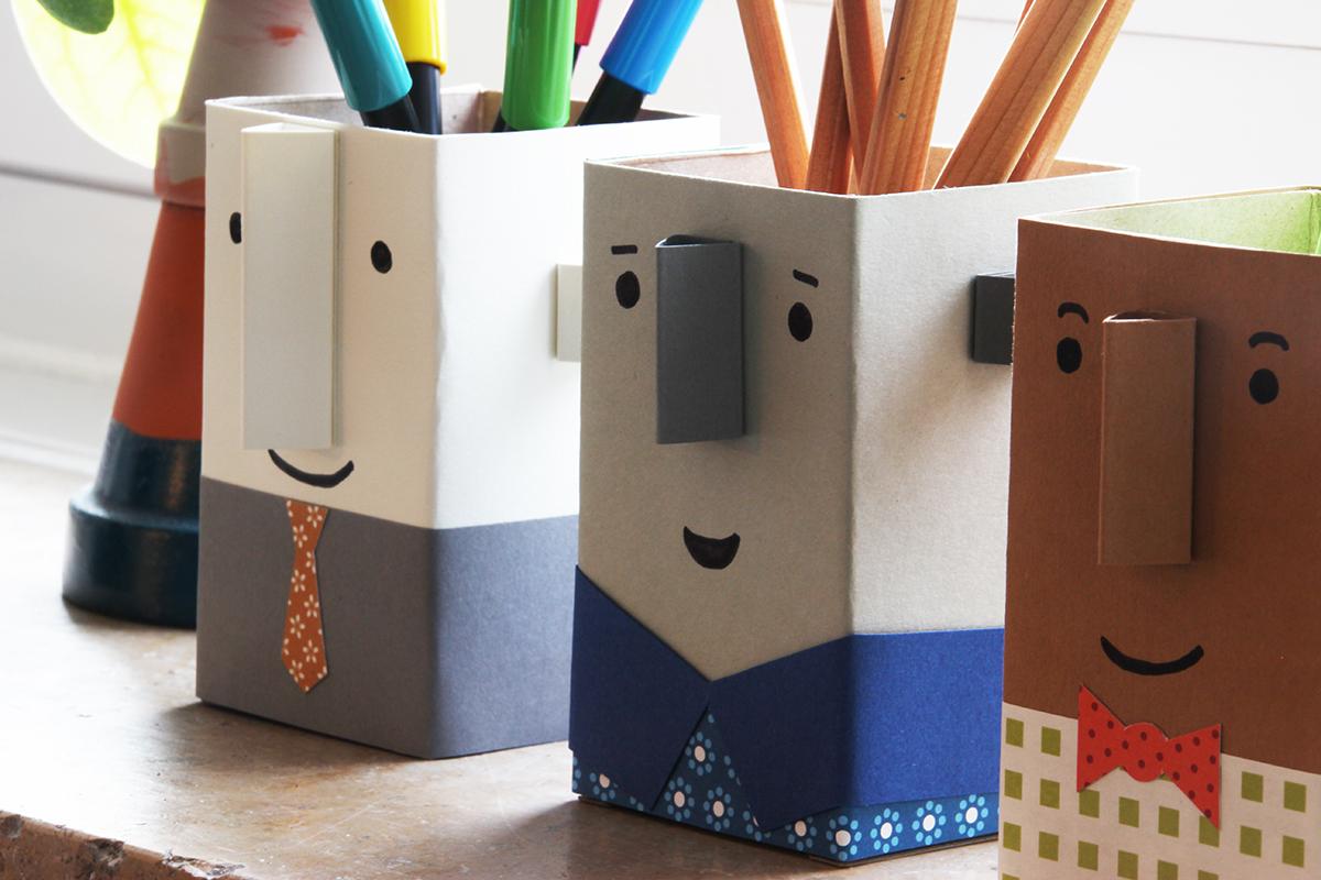 Stiftebecher, Gesicht, Papier, Pappe, DIY, binedoro
