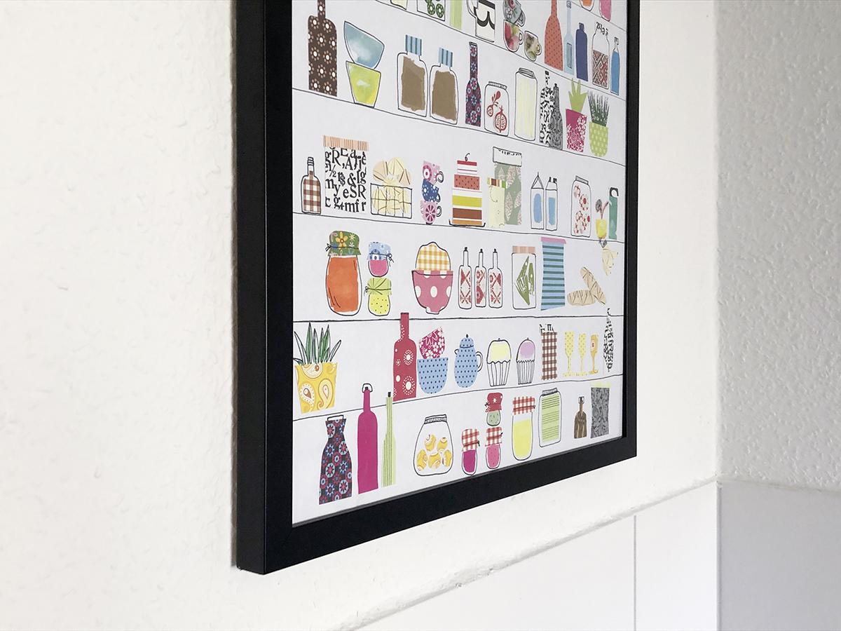 Poster Papierschnipsel baseln Vorratsregal DIY binedoro