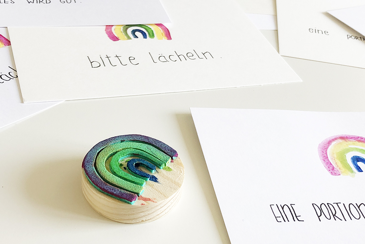 Postkarte, Regenbogen, stempeln, DIY, Coronavirus, binedoro