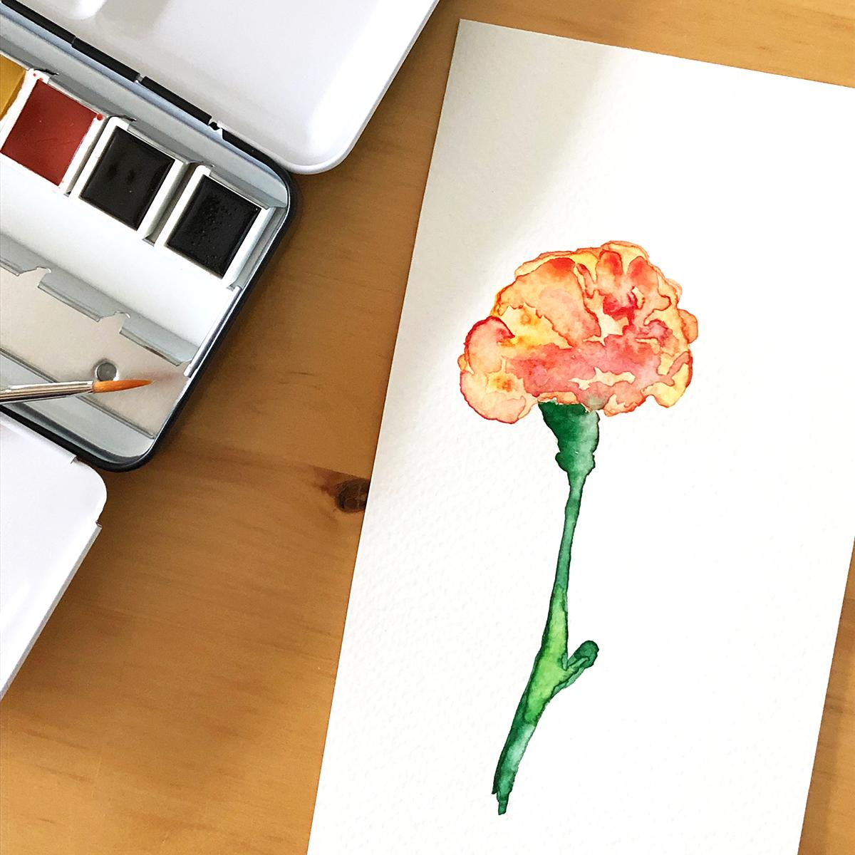 Aquarell malen Grusskarte Nelke DIY binedoro
