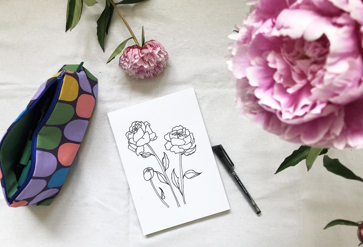 Aquarellfarben Textilbild Baumwolle Pfingstrosen DIY binedoro